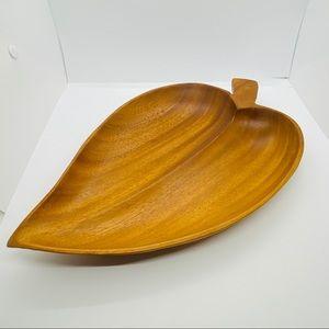 Vintage Mid Century Wood Leaf Shape Tray Platter